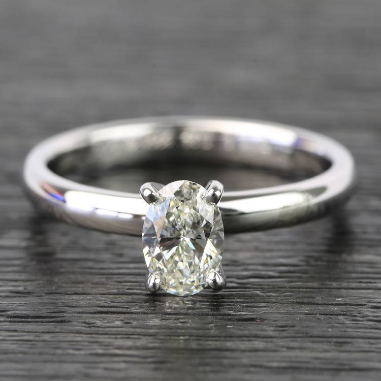 Oval Classic Solitaire Diamond Engagement Ring (0.61 Carat)