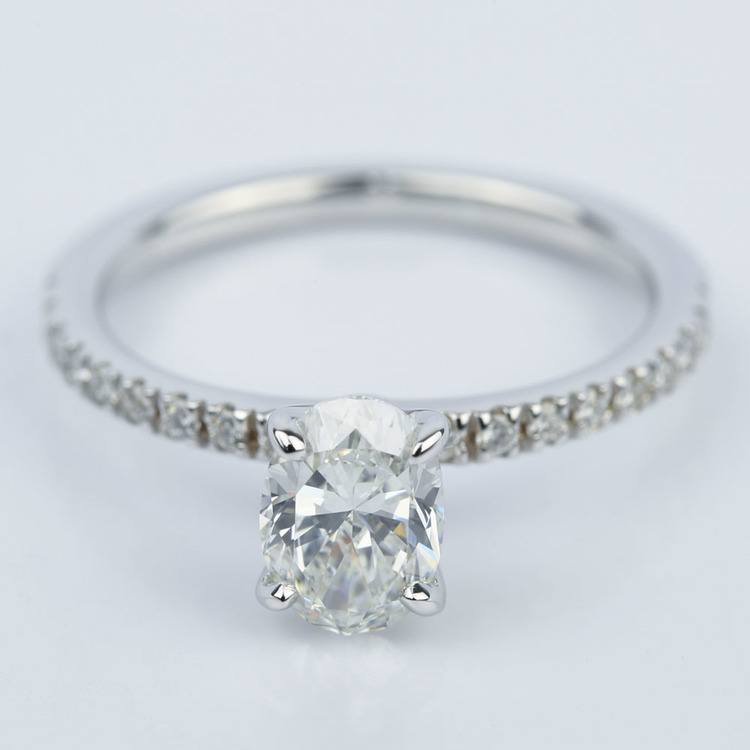 Oval Cut Diamond Engagement Ring with Pave Setting (0.90 ct.)