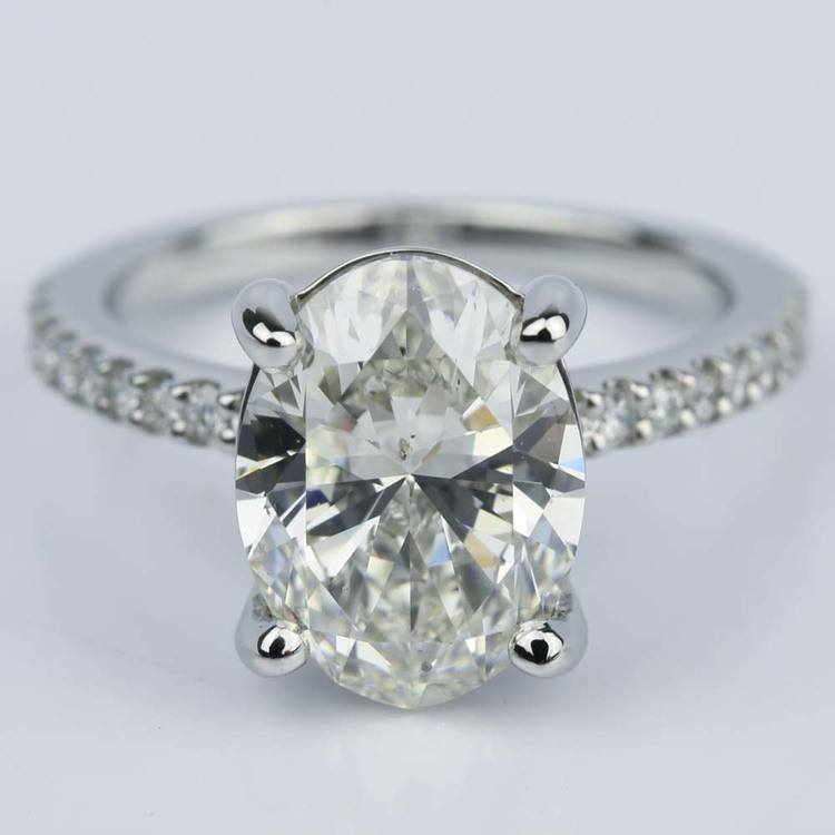 Oval Cut Diamond Scallop Engagement Ring (3 Carat)