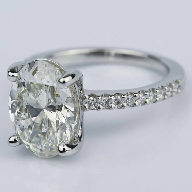 Oval Cut Diamond Scallop Engagement Ring (3 Carat) angle 2