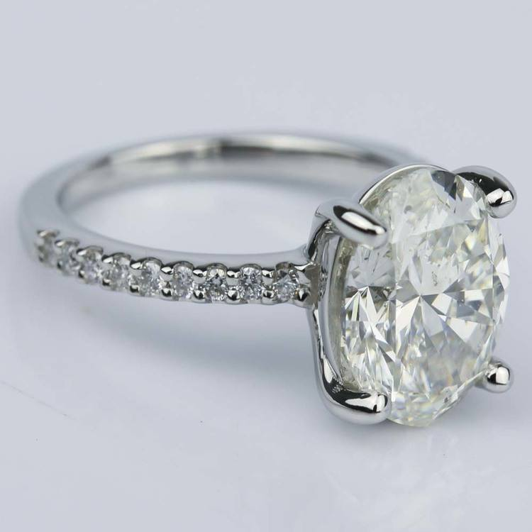 Oval Cut Diamond Scallop Engagement Ring (3 Carat) angle 3