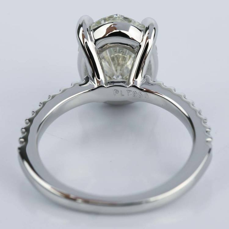 Oval Cut Diamond Scallop Engagement Ring (3 Carat) angle 4