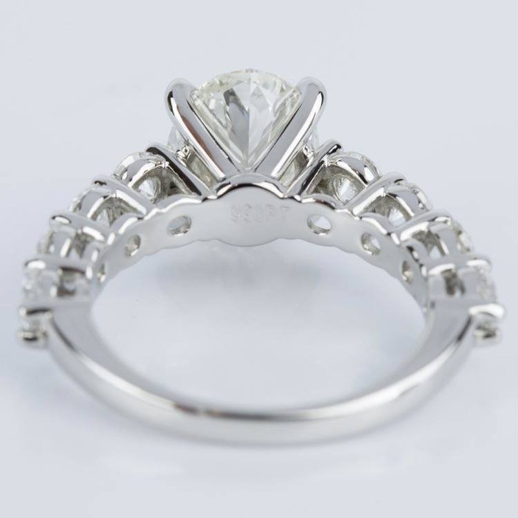 Oval Cut Engagement Ring with Large Side Diamonds in Platinum angle 4