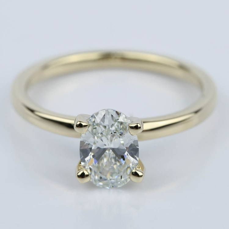 Oval Diamond Solitaire Ring in Yellow Gold (1.09 ct.)