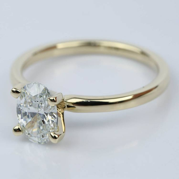 Oval Diamond Solitaire Ring in Yellow Gold (1.09 ct.) angle 2