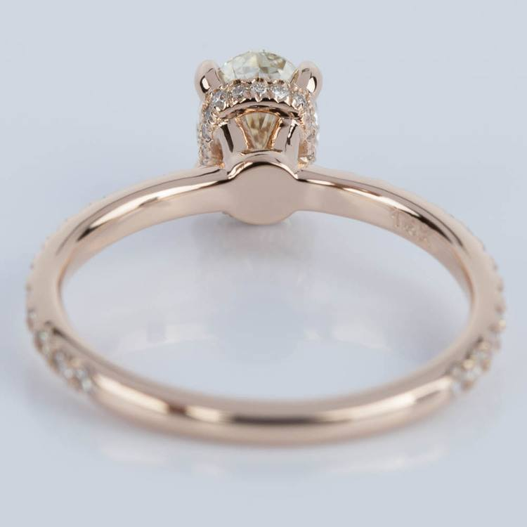 Oval Engagement Ring with Hidden Diamond Halo in Rose Gold angle 4