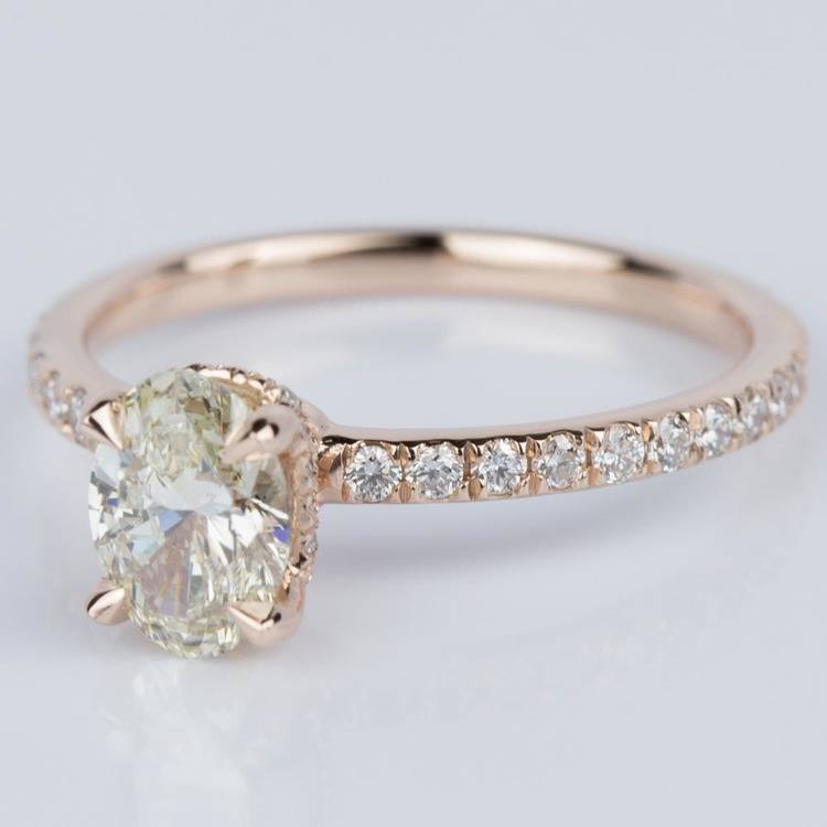 Oval Engagement Ring with Hidden Diamond Halo in Rose Gold angle 2