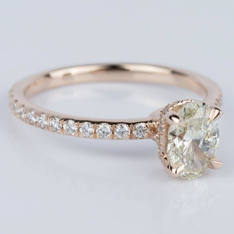 Oval Engagement Ring with Hidden Diamond Halo in Rose Gold angle 3