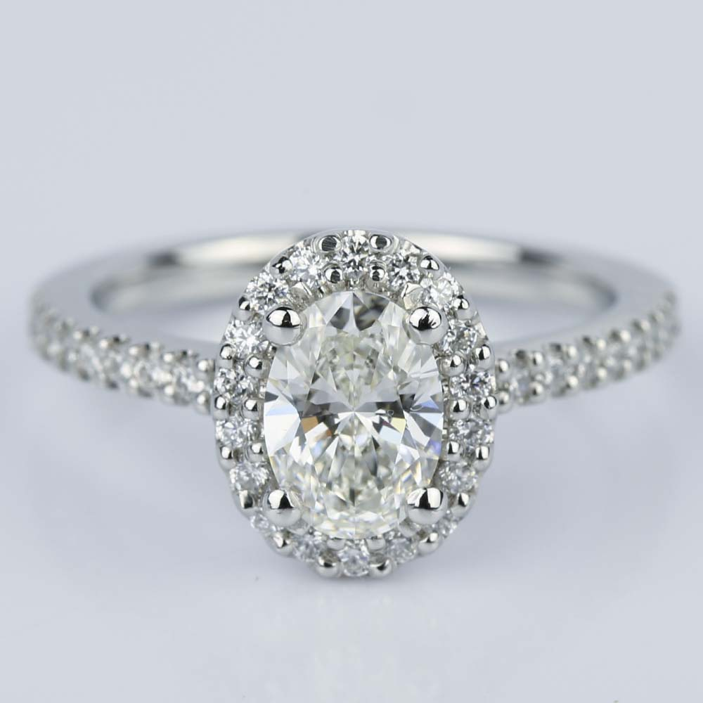 Oval Halo Diamond Diamond Engagement Ring in Platinum 0 93 ct