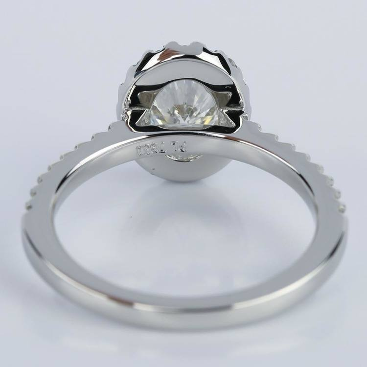 Oval Halo Diamond Diamond Engagement Ring in Platinum (0.93 ct.) angle 4
