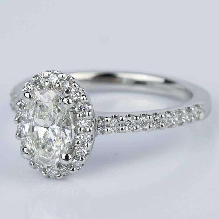 Oval Halo Diamond Diamond Engagement Ring in Platinum (0.93 ct.) angle 2