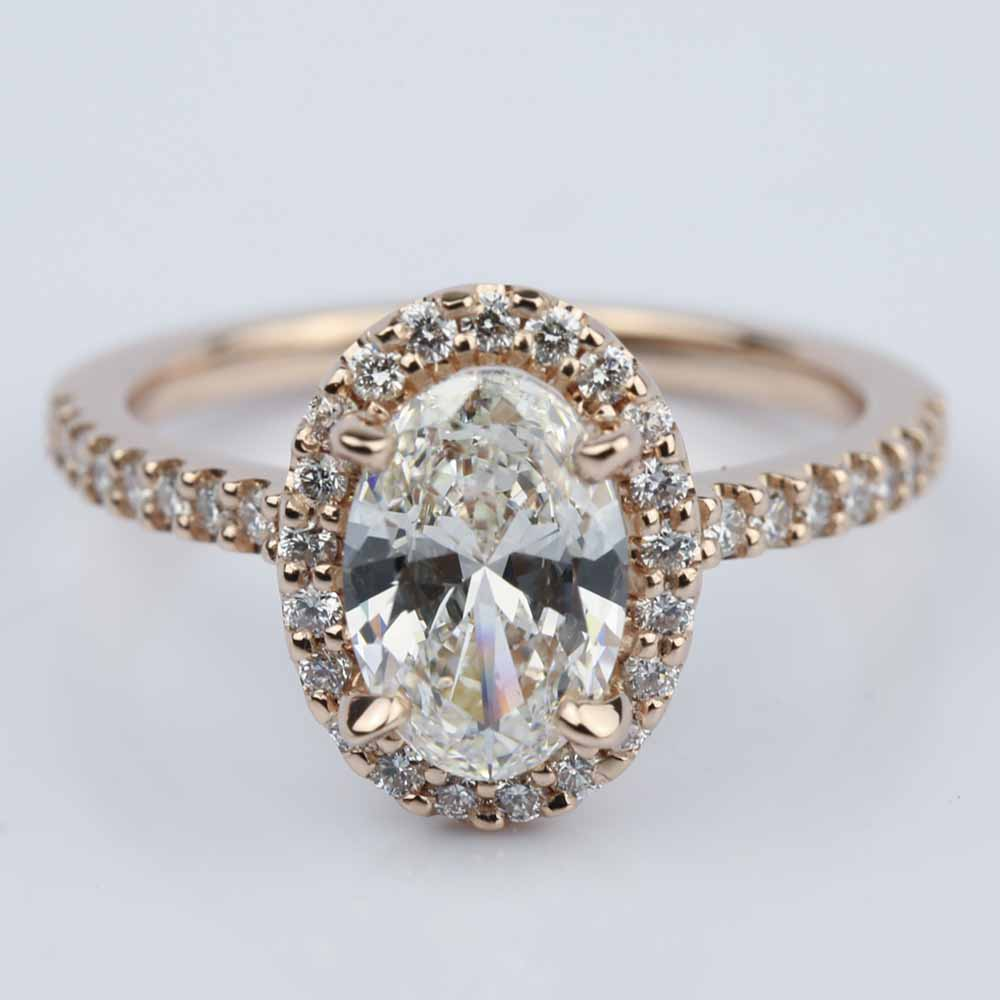 oval halo engagement ring in gold 1 50 ct