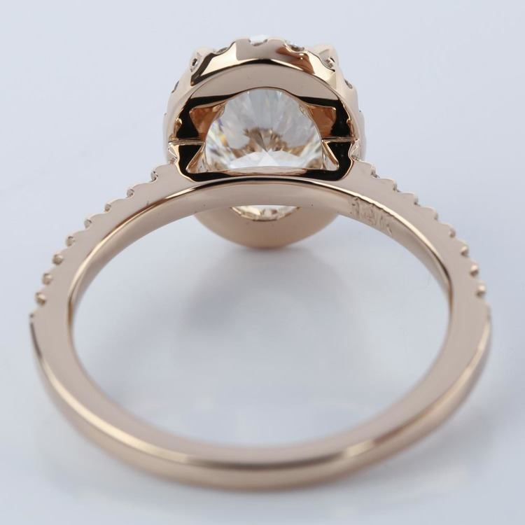 Oval Halo Diamond Engagement Ring in Rose Gold (1.50 ct.) angle 4