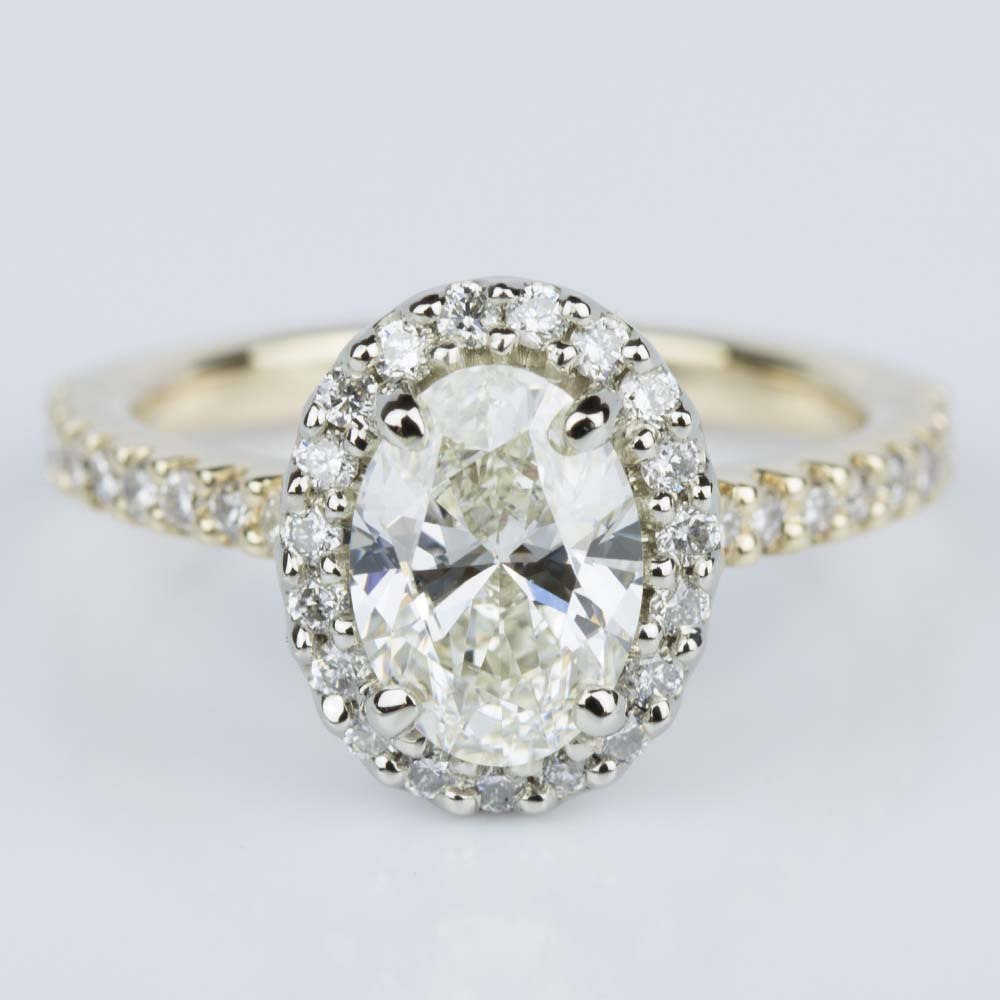 Oval Halo Diamond Engagement Ring In Yellow Amp White Gold