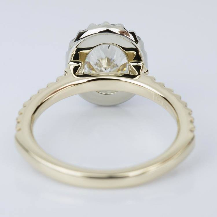 Oval Halo Diamond Engagement Ring in Yellow & White Gold 1 10 ct