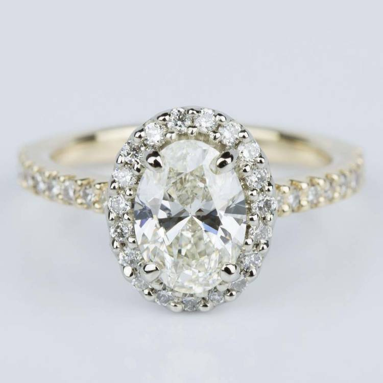 Oval Halo Diamond Engagement Ring in Yellow & White Gold (1.10 ct.)