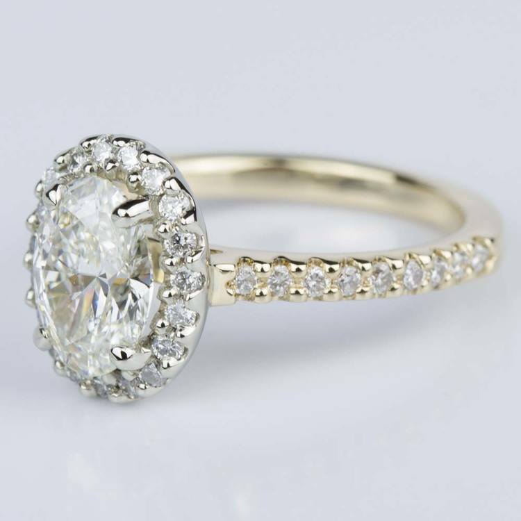 Oval Halo Diamond Engagement Ring in Yellow & White Gold (1.10 ct.) angle 2