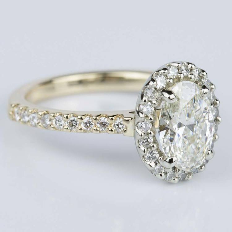 Oval Halo Diamond Engagement Ring in Yellow & White Gold (1.10 ct.) angle 3