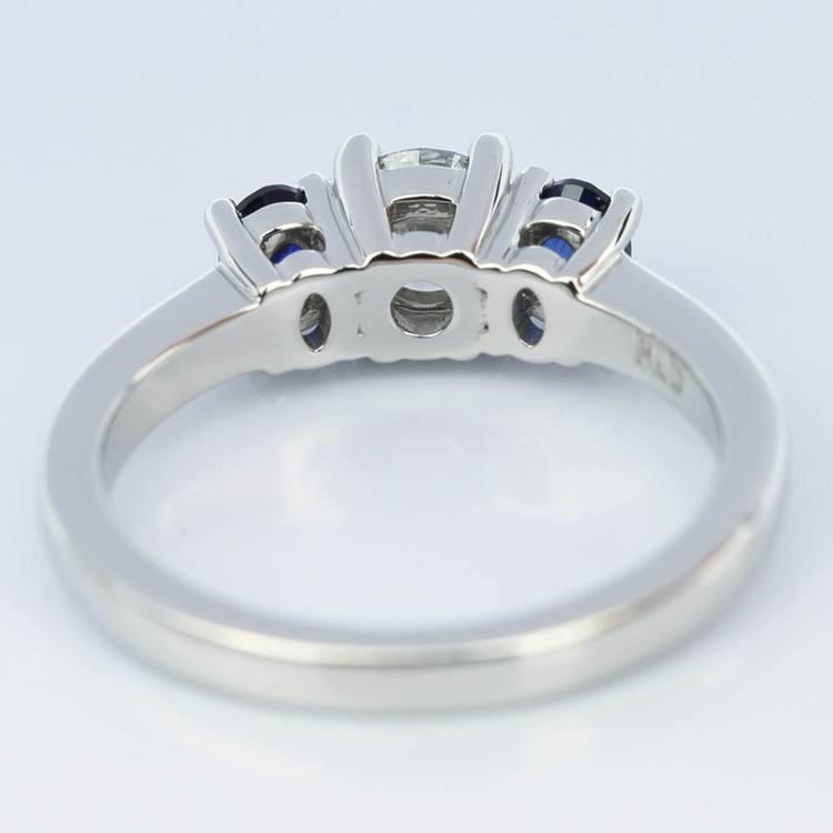 Oval Sapphire Gemstone Engagement Ring in Palladium (0.50 ct.) angle 4