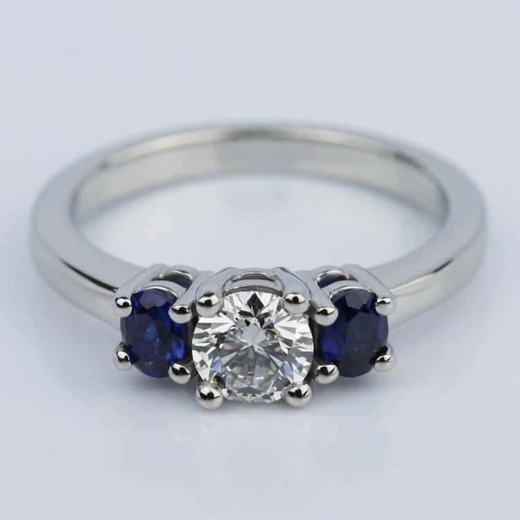 Wedding Ring Costs: Oval Sapphire Gemstone Engagement Ring In Palladium (0.50 Ct