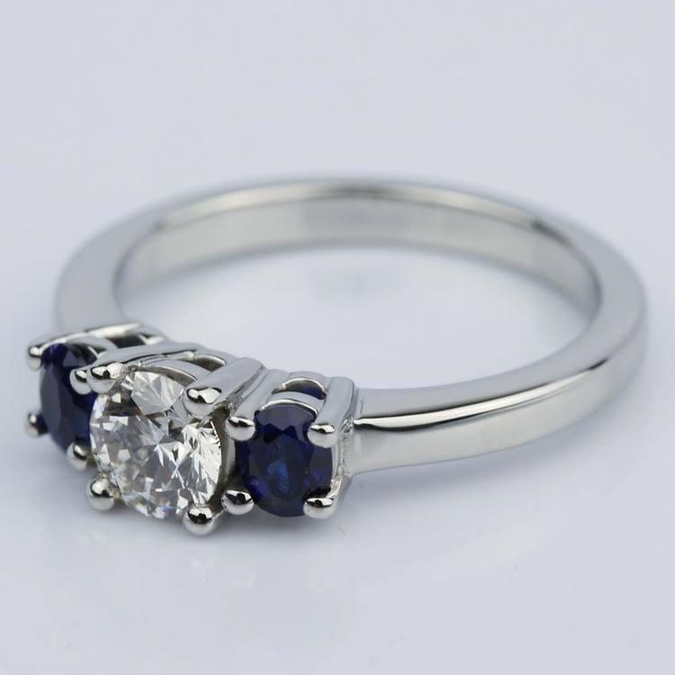 Oval Sapphire Gemstone Engagement Ring in Palladium (0.50 ct.) angle 2