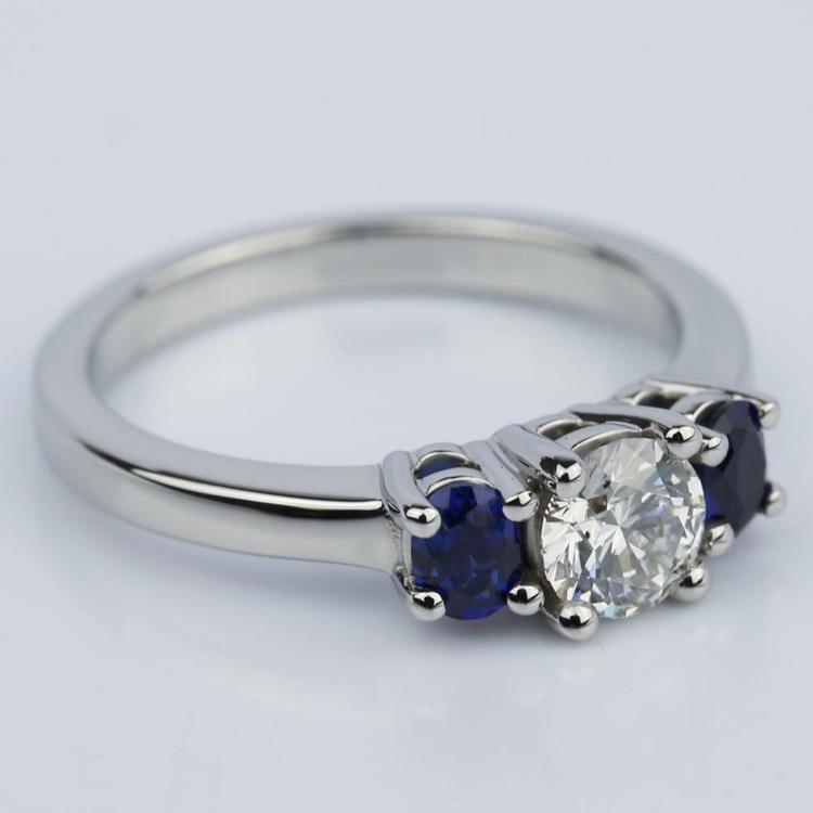 Oval Sapphire Gemstone Engagement Ring in Palladium (0.50 ct.) angle 3