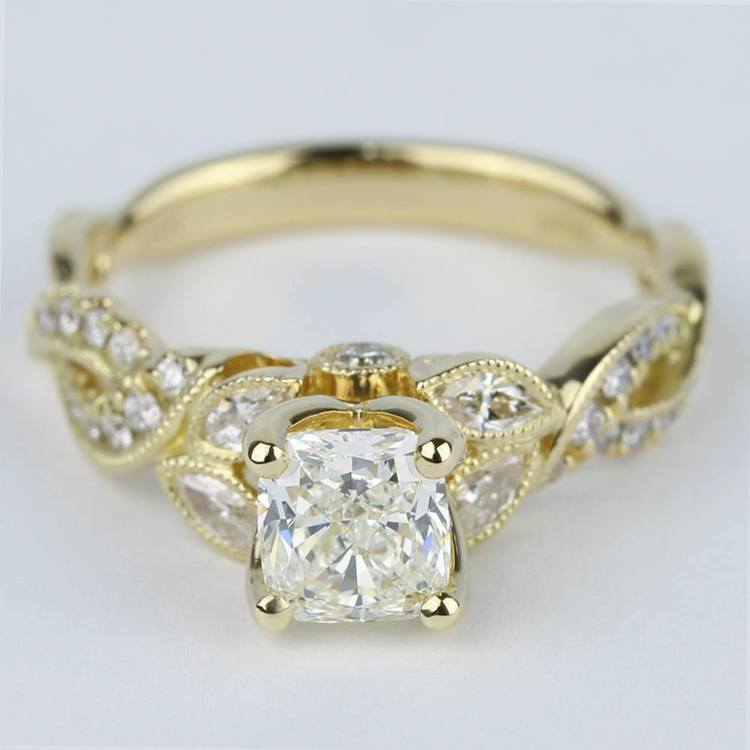 Vintage Leaf Amp Vine Engagement Ring With Cushion Diamond
