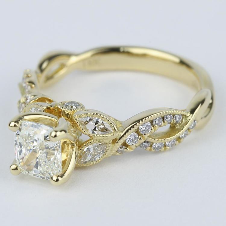 Vintage Leaf & Vine Engagement Ring with Cushion Diamond (1 Carat) angle 2