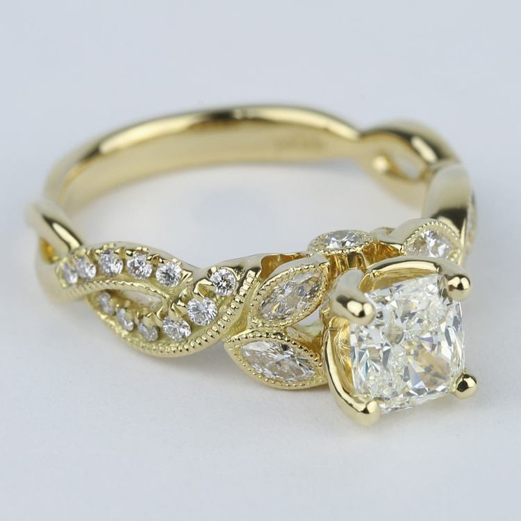 Vintage Leaf & Vine Engagement Ring with Cushion Diamond (1 Carat) angle 3