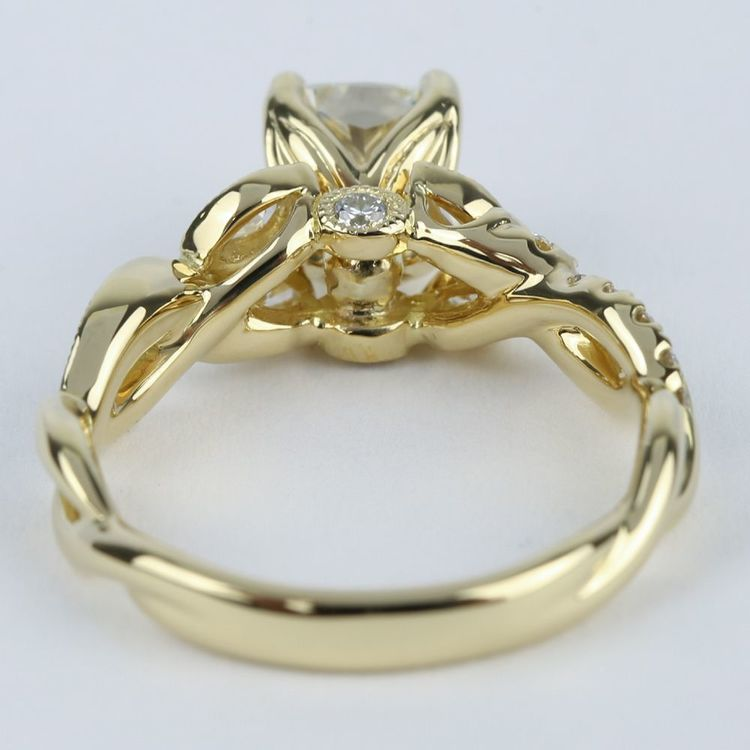 Vintage Leaf Amp Vine Engagement Ring With Cushion Diamond 1 Carat