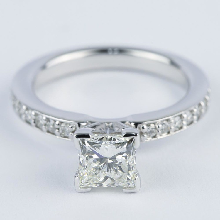 0.95 Carat Princess Diamond with Pave-Set Engagement Ring