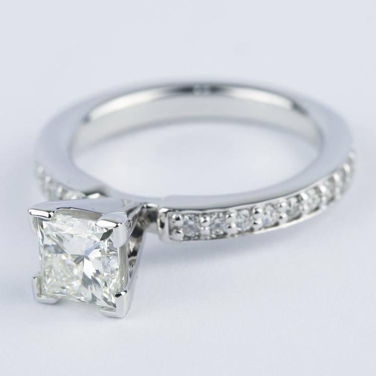 0.95 Carat Princess Diamond with Pave-Set Engagement Ring angle 2