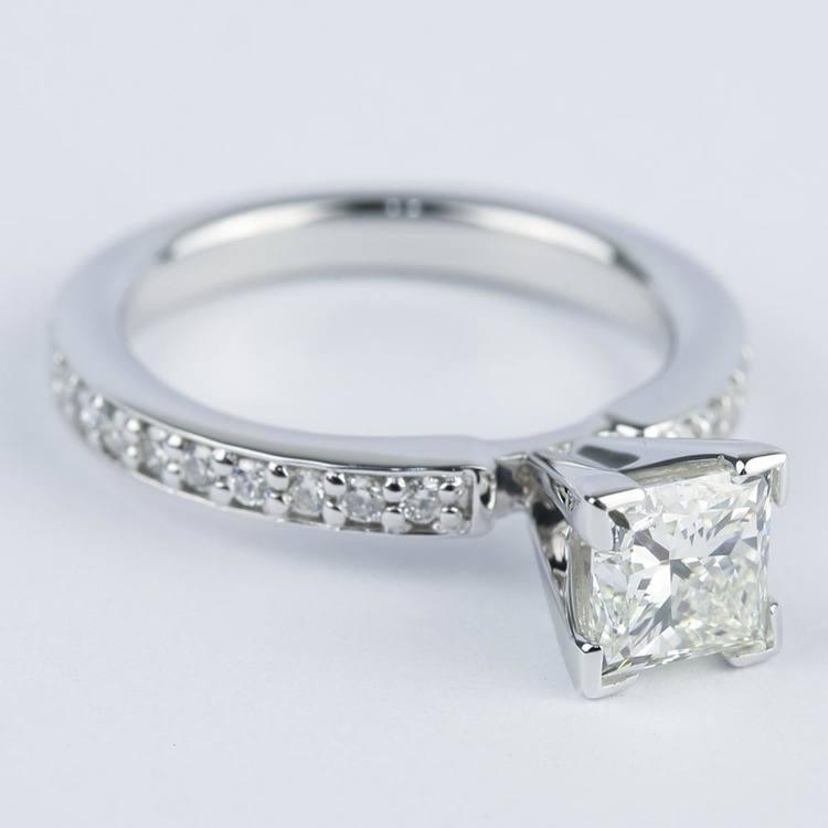 0.95 Carat Princess Diamond with Pave-Set Engagement Ring angle 3