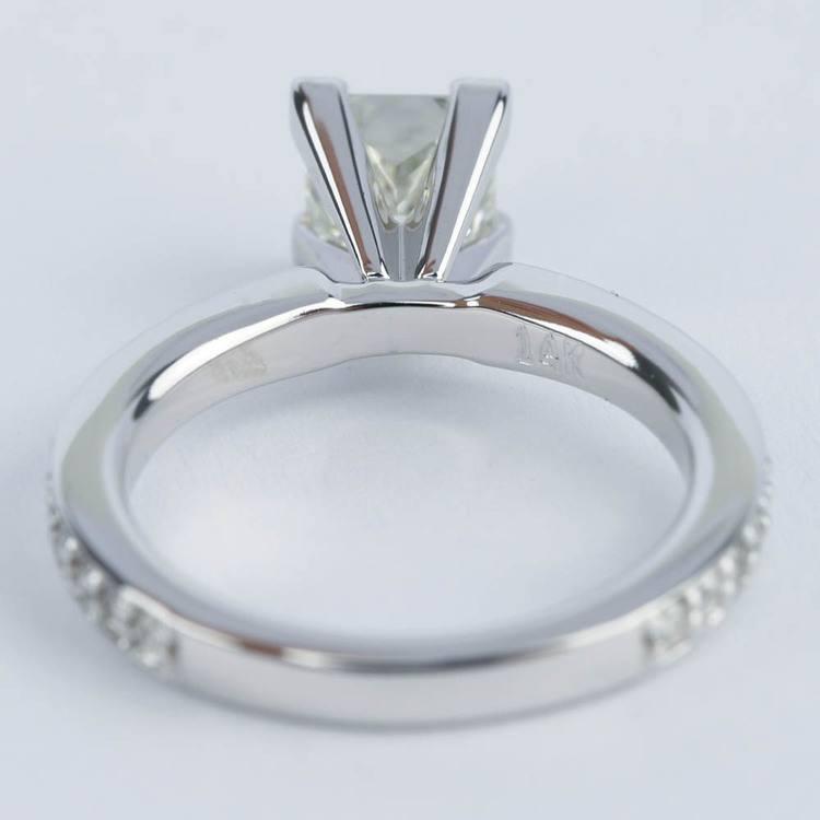 0.95 Carat Princess Diamond with Pave-Set Engagement Ring angle 4