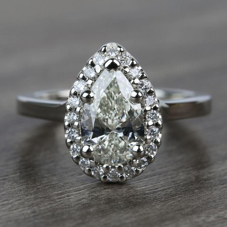 Pave 1.10 Carat Pear Halo Diamond Engagement Ring