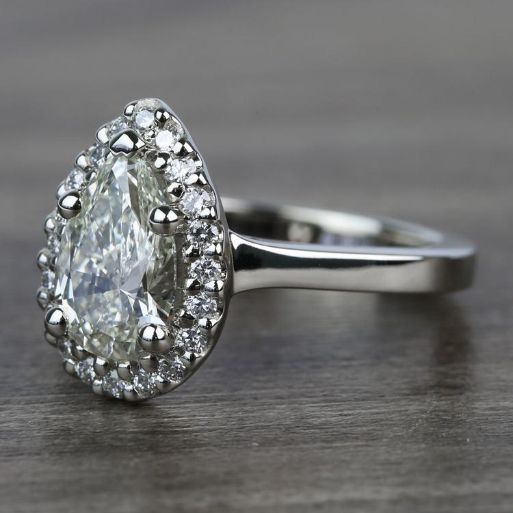 Pave 1.10 Carat Pear Halo Diamond Engagement Ring angle 2