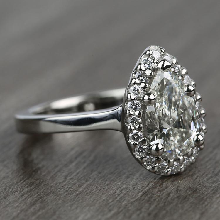 Pave 1.10 Carat Pear Halo Diamond Engagement Ring angle 3