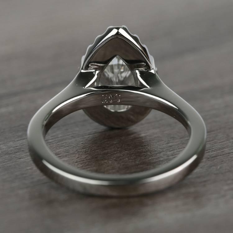 Pave 1.10 Carat Pear Halo Diamond Engagement Ring angle 4
