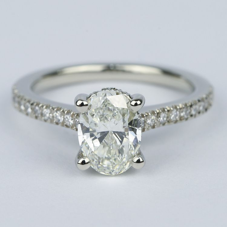 Oval Micro-Pave Engagement Ring with Diamond Gallery (1.20 ct.)