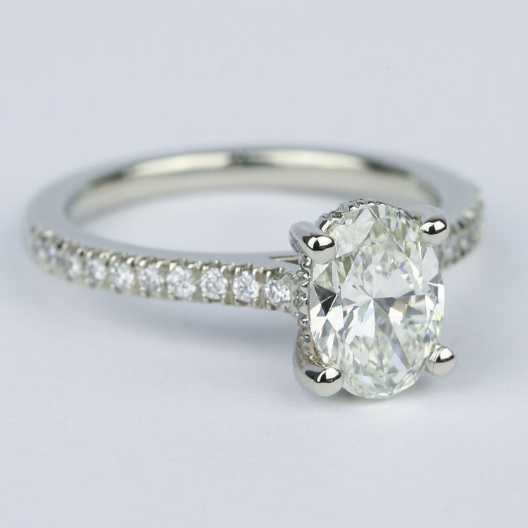 Oval Micro-Pave Engagement Ring with Diamond Gallery (1.20 ct.) angle 3
