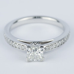 Pave Cathedral 0.76 Carat Princess Diamond Engagement Ring - small