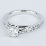 Pave Cathedral 0.76 Carat Princess Diamond Engagement Ring - small angle 2