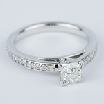 Pave Cathedral 0.76 Carat Princess Diamond Engagement Ring - small angle 3