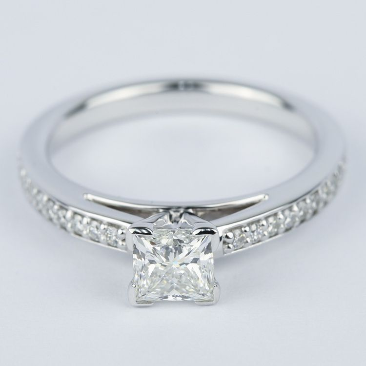 Pave Cathedral 0.76 Carat Princess Diamond Engagement Ring