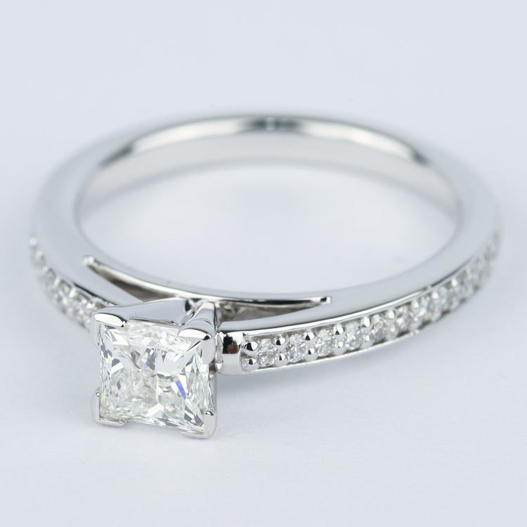 Pave Cathedral 0.76 Carat Princess Diamond Engagement Ring angle 2