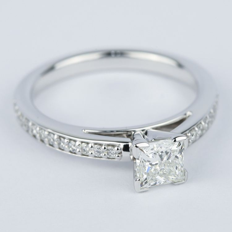 Pave Cathedral 0.76 Carat Princess Diamond Engagement Ring angle 3