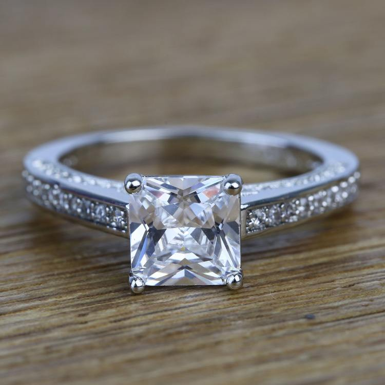 Pave Cathedral 0.80 Carat Princess Diamond Engagement Ring