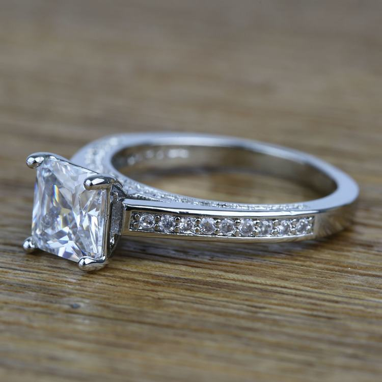 Pave Cathedral 0.80 Carat Princess Diamond Engagement Ring angle 2