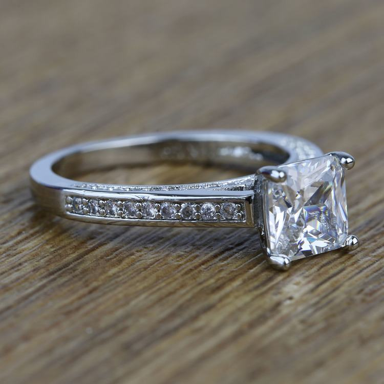 Pave Cathedral 0.80 Carat Princess Diamond Engagement Ring angle 3