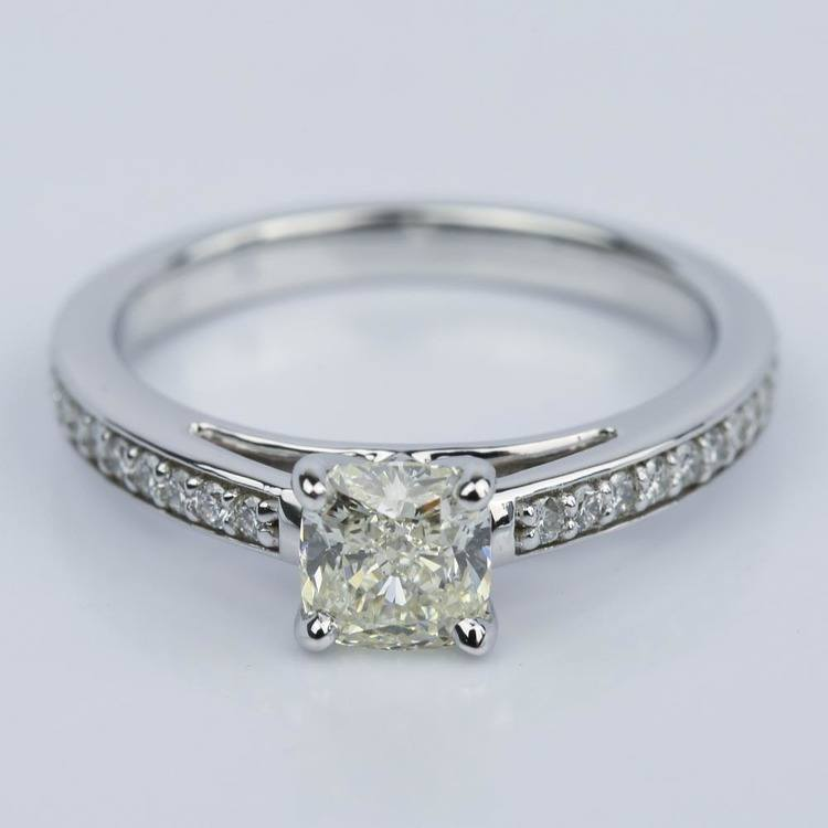 Pave Cathedral 0.92 Carat Cushion Diamond Engagement Ring